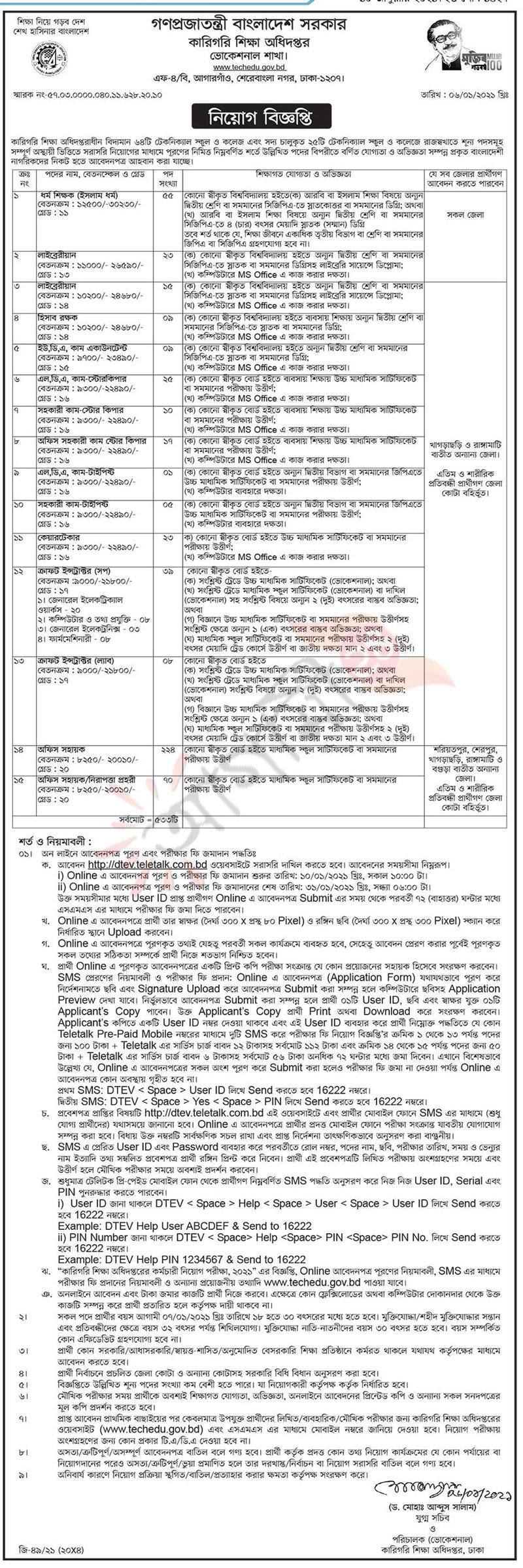 DTE Job Circular Apply 2021